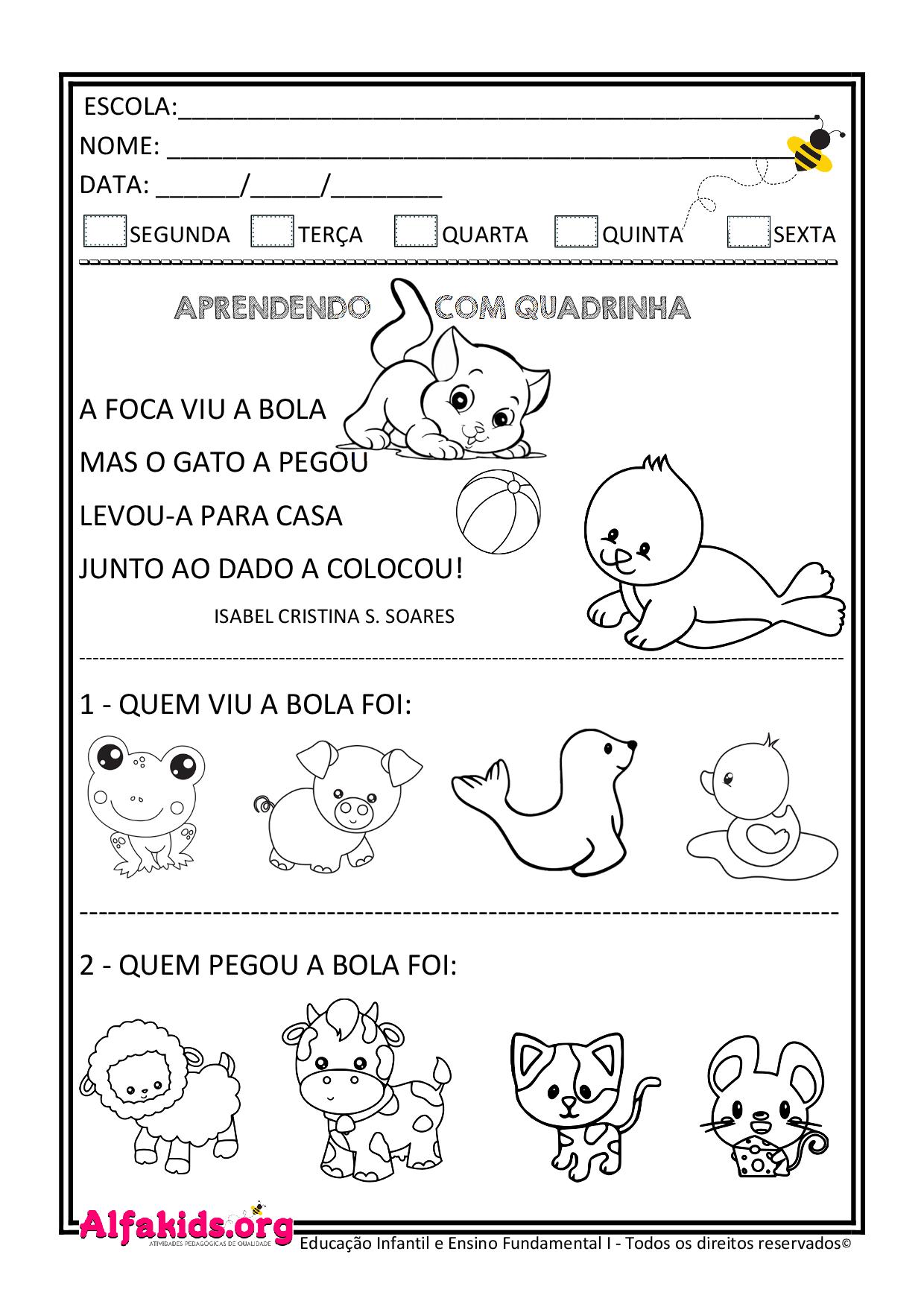 Atividades Educativas de Alfabetização: Quadrinha, interpretação e caça-palavras - Alfakids.org