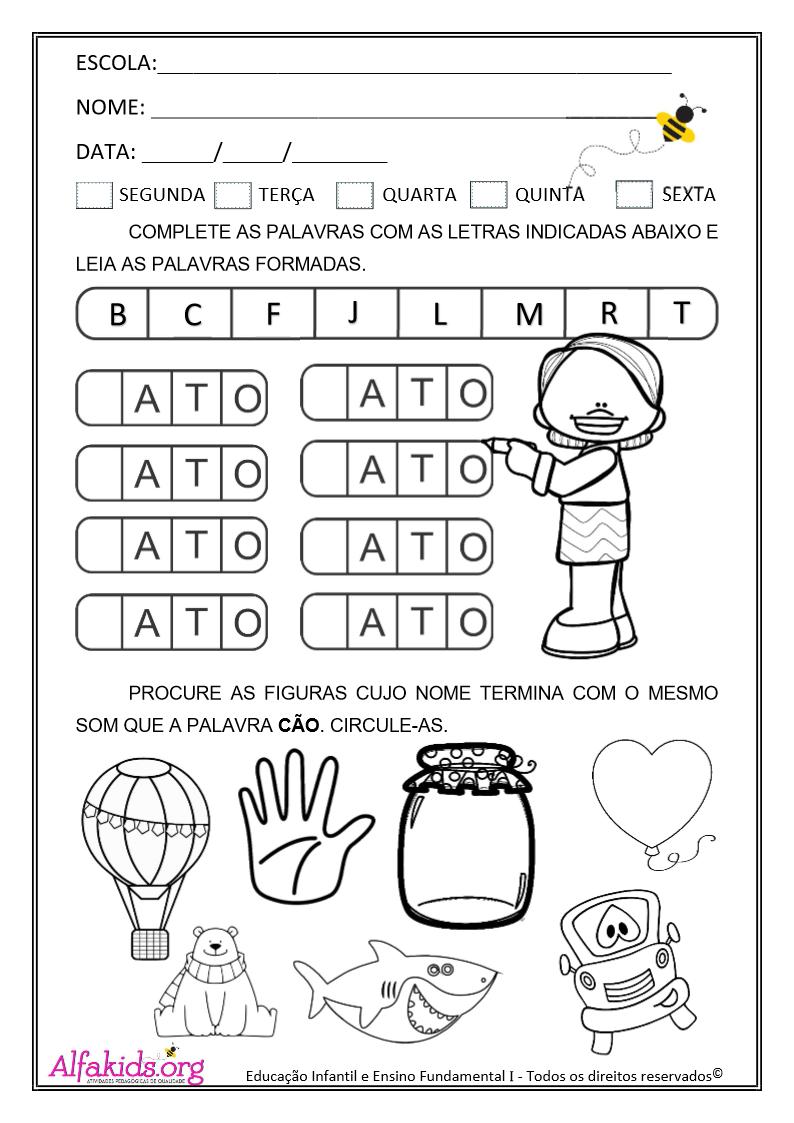 Atividades de alfabetização 1º Ano: Trocando letras - Alfakids.org
